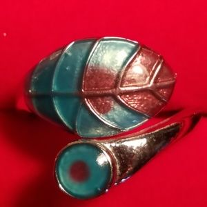 Sterling Silver Turquoise Leaf Wrap Around Ring